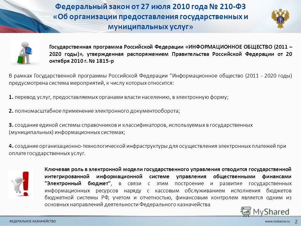 2 Федеральный закон от 27 июля 2010 года 210-ФЗ «Об организации предоставления государственных и муниципальных услуг» Государственная программа Российской Федерации «ИНФОРМАЦИОННОЕ ОБЩЕСТВО (2011 – 2020 годы)», утвержденная распоряжением Правительств