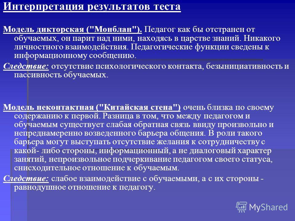 Интерпретация результатов теста Модель дикторская (