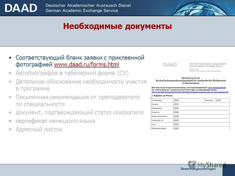 Соответствующий бланк заявки с приклеенной фотографией www.daad.ru/forms.html Автобиография в табелярной форме (CV) Детальное обоснование необходимости участия в программе Письменная рекомендация от преподавателя по специальности документ, подтвержда
