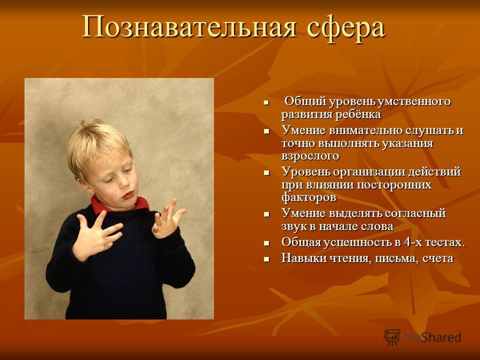 Познавательная сфера Общий уровень умственного развития ребёнка Общий уровень умственного развития ребёнка Умение внимательно слушать и точно выполнять указания взрослого Умение внимательно слушать и точно выполнять указания взрослого Уровень организ