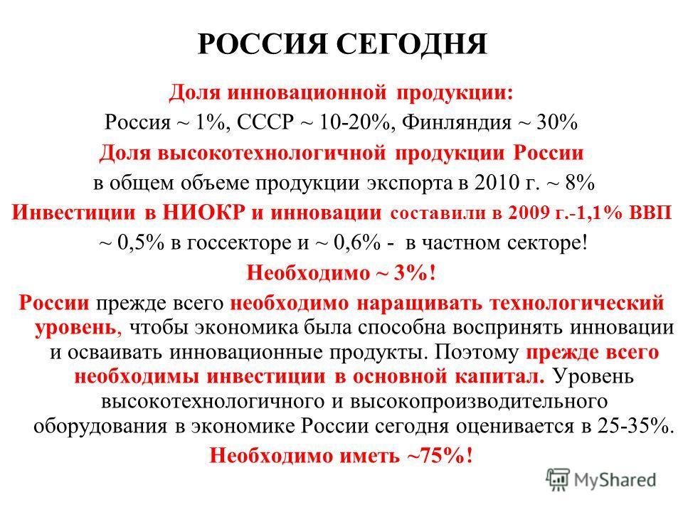 РОССИЯ СЕГОДНЯ Доля инновационной продукции: Россия ~ 1%, СССР ~ 10-20%, Финляндия ~ 30% Доля высокотехнологичной продукции России в общем объеме продукции экспорта в 2010 г. ~ 8% Инвестиции в НИОКР и инновации составили в 2009 г.-1,1% ВВП ~ 0,5% в г