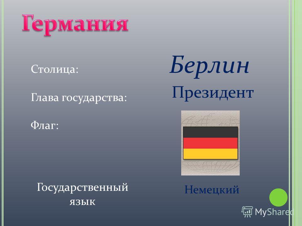 Столица: Глава государства: Флаг: Берлин Президент Государственный язык Немецкий