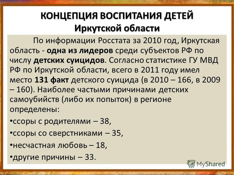 КОНЦЕПЦИЯ ВОСПИТАНИЯ ДЕТЕЙ Иркутской области По информации Росстата за 2010 год, Иркутская область - одна из лидеров среди субъектов РФ по числу детских суицидов. Согласно статистике ГУ МВД РФ по Иркутской области, всего в 2011 году имел место 131 фа