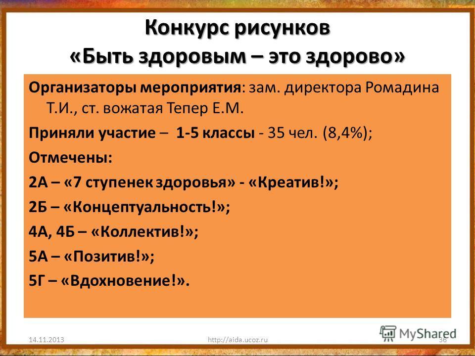 Конкурс рисунков «Быть здоровым – это здорово» Организаторы мероприятия: зам. директора Ромадина Т.И., ст. вожатая Тепер Е.М. Приняли участие – 1-5 классы - 35 чел. (8,4%); Отмечены: 2А – «7 ступенек здоровья» - «Креатив!»; 2Б – «Концептуальность!»;