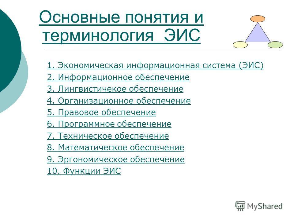 Основные понятия и терминология ЭИС 1. Экономическая информационная система (ЭИС) 2. Информационное обеспечение 3. Лингвистичекое обеспечение 4. Организационное обеспечение 5. Правовое обеспечение 6. Программное обеспечение 7. Техническое обеспечение