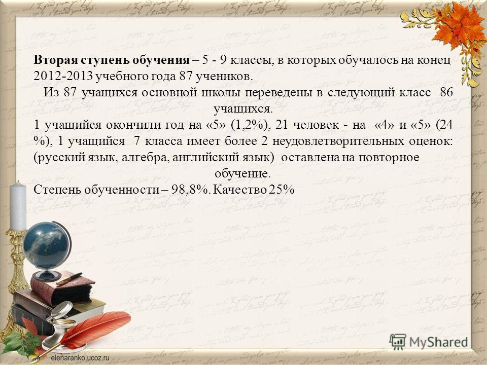 Вторая ступень обучения – 5 - 9 классы, в которых обучалось на конец 2012-2013 учебного года 87 учеников. Из 87 учащихся основной школы переведены в следующий класс 86 учащихся. 1 учащийся окончили год на «5» (1,2%), 21 человек - на «4» и «5» (24 %),