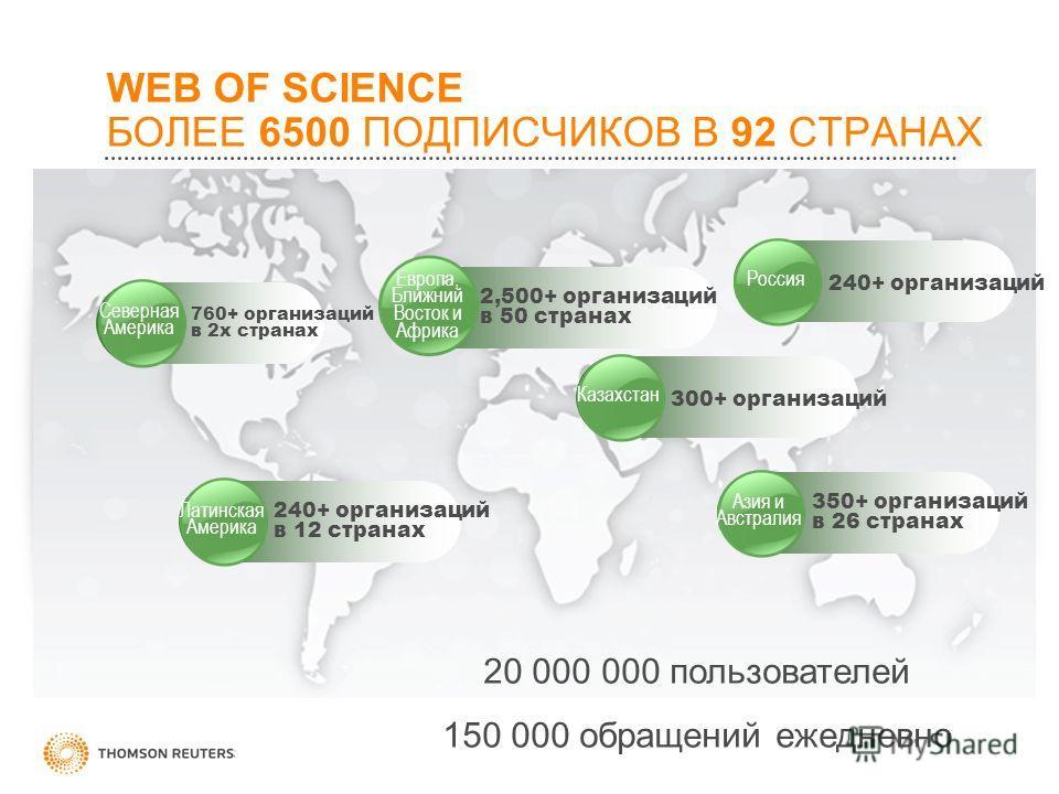 WEB OF SCIENCE БОЛЕЕ 6500 ПОДПИСЧИКОВ В 92 СТРАНАХ Азия и Австралия 350+ организаций в 26 странах Европа, Ближний Восток и Африка 2,500+ организаций в 50 странах 240+ организаций в 12 странах Латинская Америка 760+ организаций в 2х странах Северная А