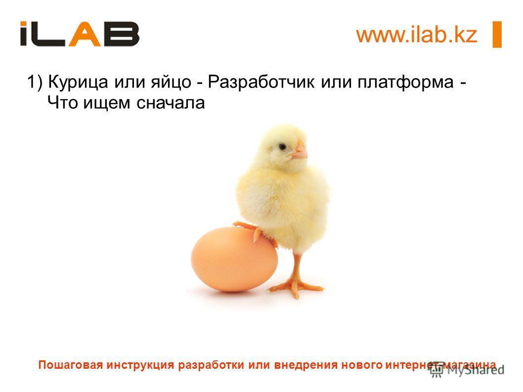 Пошаговая инструкция разработки или внедрения нового интернет-магазина 1) Курица или яйцо - Разработчик или платформа - Что ищем сначала