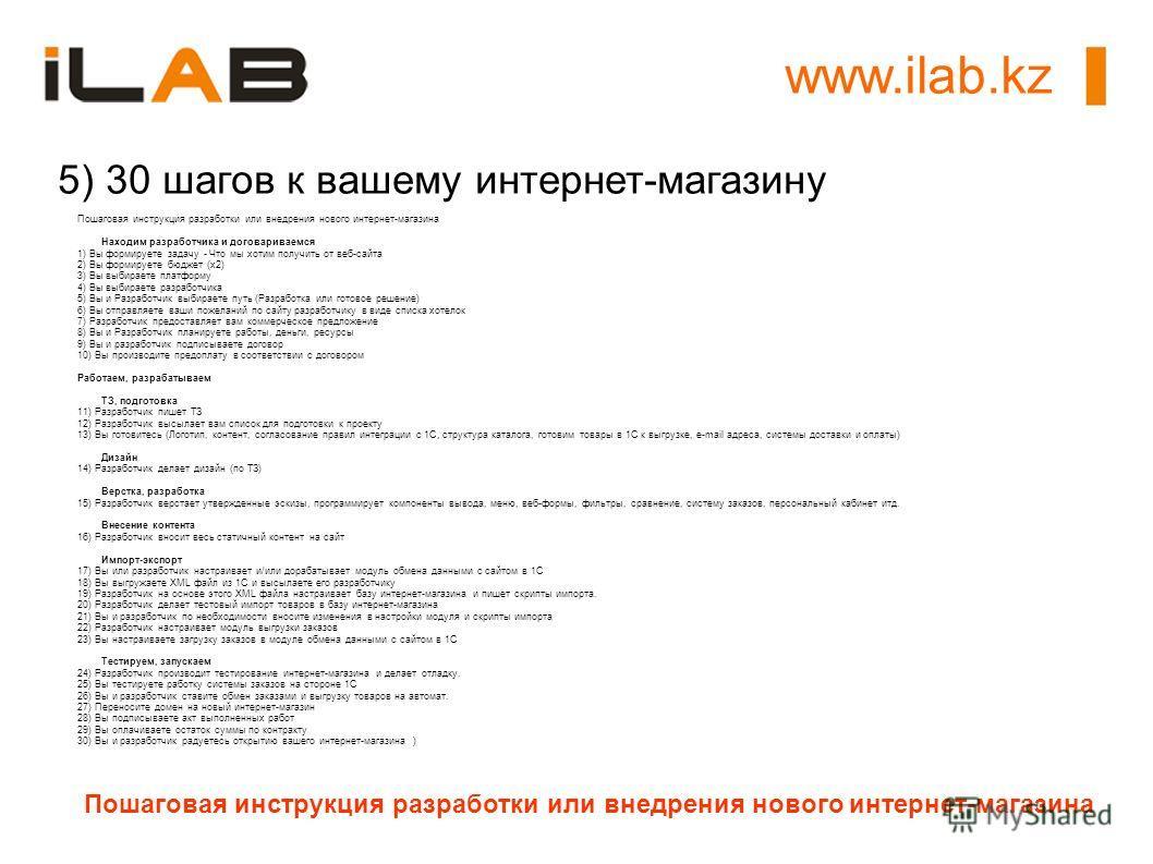 www.ilab.kz Пошаговая инструкция разработки или внедрения нового интернет-магазина 5) 30 шагов к вашему интернет-магазину Пошаговая инструкция разработки или внедрения нового интернет-магазина Находим разработчика и договариваемся 1) Вы формируете за