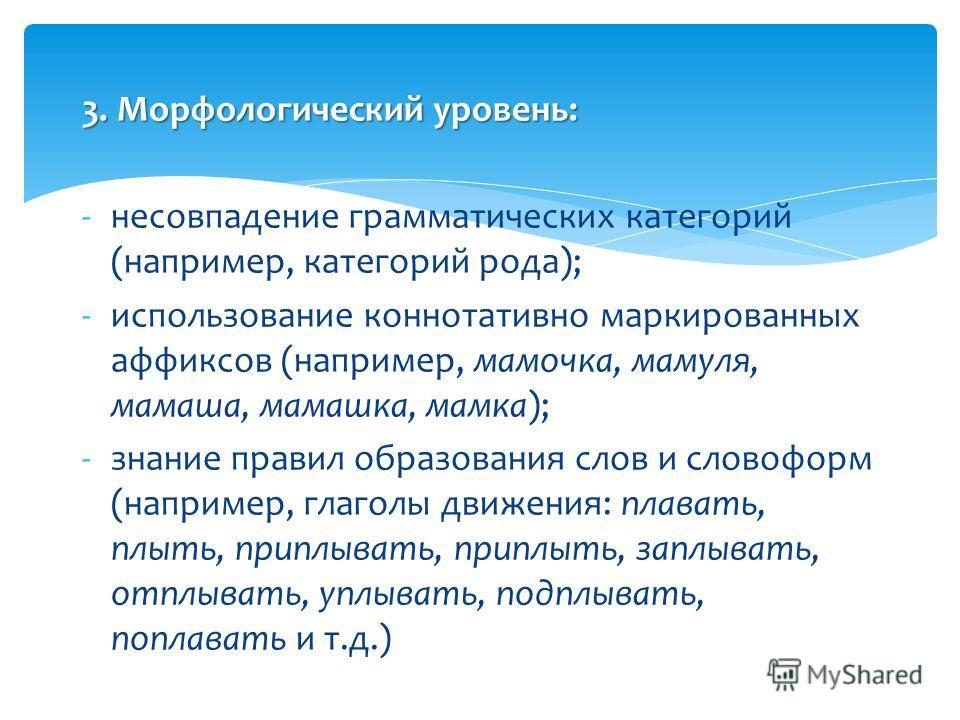 3. Морфологический уровень: -несовпадение грамматических категорий (например, категорий рода); -использование коннотативно маркированных аффиксов (например, мамочка, мамуля, мамаша, мамашка, мамка); -знание правил образования слов и словоформ (наприм