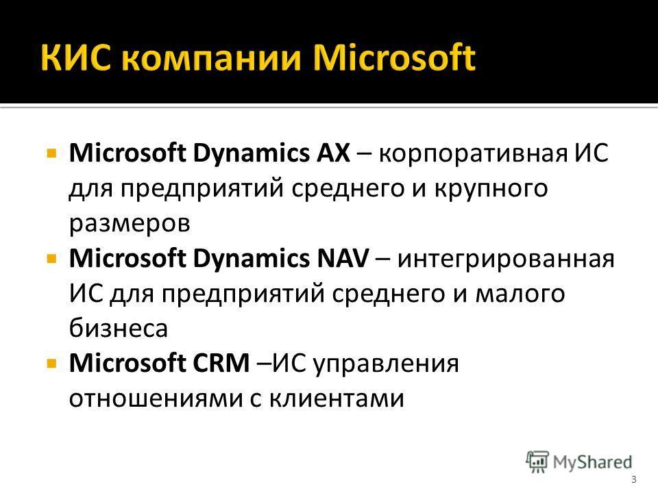 Microsoft Dynamics AX – корпоративная ИС для предприятий среднего и крупного размеров Microsoft Dynamics NAV – интегрированная ИС для предприятий среднего и малого бизнеса Microsoft CRM –ИС управления отношениями с клиентами 3