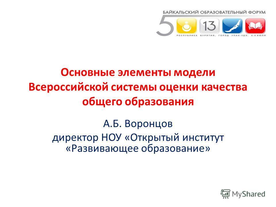 Основные элементы модели Всероссийской системы оценки качества общего образования А.Б. Воронцов директор НОУ «Открытый институт «Развивающее образование»