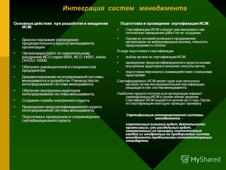 Интеграция систем менеджмента Основные действия при разработке и внедрении ИСМ: Диагностирование (проведение предварительного аудита) менеджмента организации. Организация работ по параллельному внедрению ИСО серии 9000, ИСО 14001, и/или OHSAS 18000.