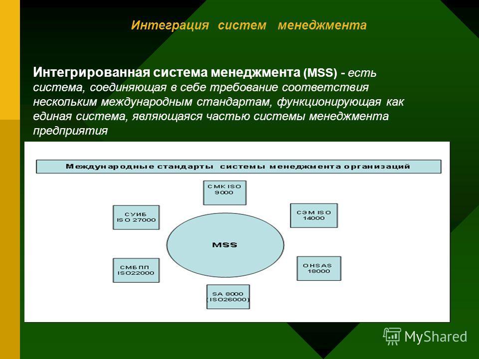 Интеграция систем менеджмента Интегрированная система менеджмента (MSS) - есть система, соединяющая в себе требование соответствия нескольким международным стандартам, функционирующая как единая система, являющаяся частью системы менеджмента предприя