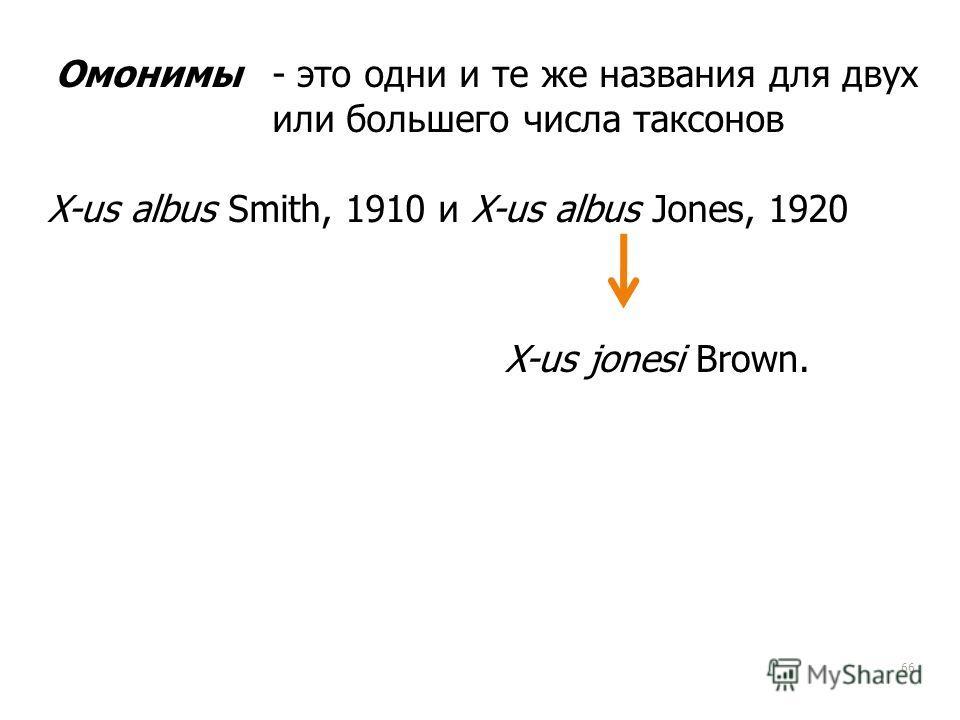 66 Омонимы- это одни и те же названия для двух или большего числа таксонов X-us jonesi Brown. X-us albus Smith, 1910 и X-us albus Jones, 1920