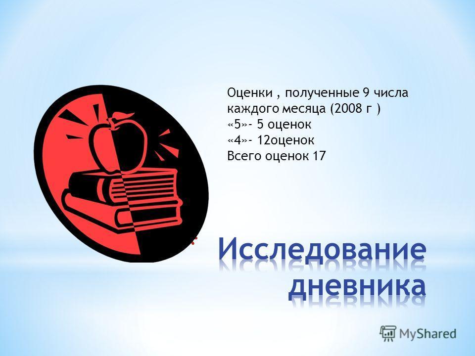 Оценки, полученные 9 числа каждого месяца (2008 г ) «5»- 5 оценок «4»- 12оценок Всего оценок 17