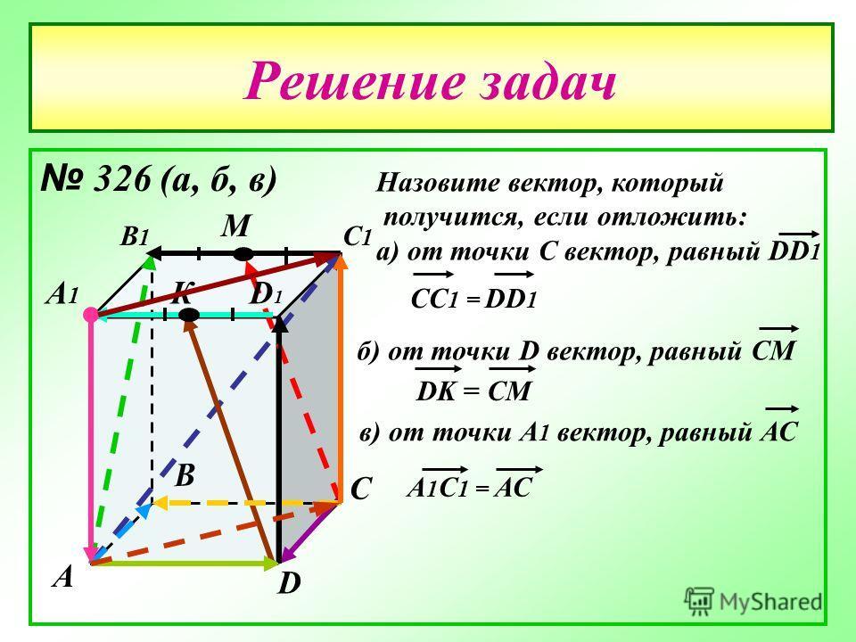 Решение задач 326 (а, б, в) А В С D А1А1 В1В1 С1С1 D1D1 М К Назовите вектор, который получится, если отложить: а) от точки С вектор, равный DD 1 CC 1 = DD 1 б) от точки D вектор, равный СМ DK = CM в) от точки А 1 вектор, равный АС А 1 С 1 = АС