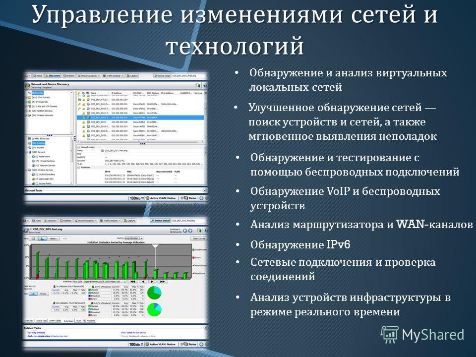 Управление изменениями сетей и технологий Улучшенное обнаружение сетей поиск устройств и сетей, а также мгновенное выявления неполадок Обнаружение и тестирование с помощью беспроводных подключений Обнаружение VoIP и беспроводных устройств Обнаружение