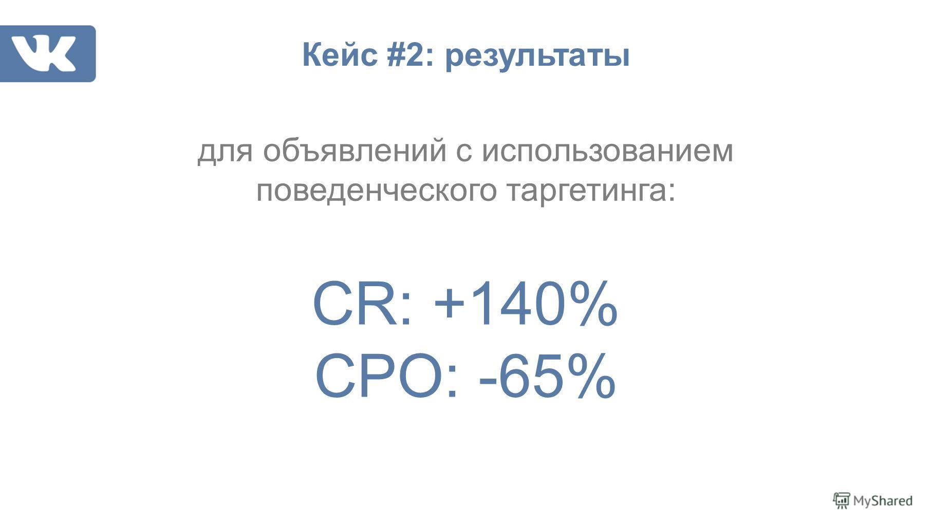 CR: +140% CPO: -65% для объявлений с использованием поведенческого таргетинга: Кейс #2: результаты