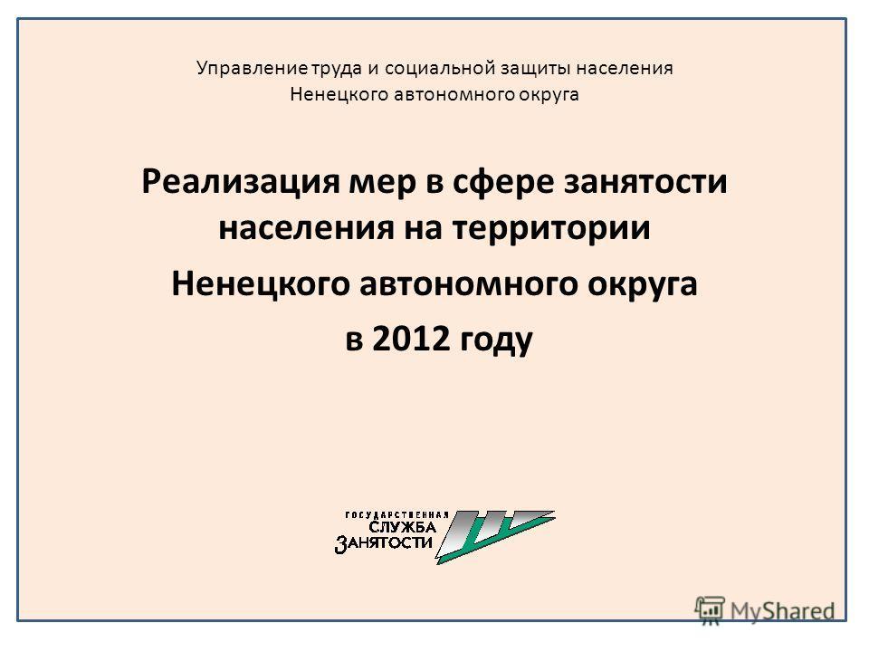 Управление труда и социальной защиты населения Ненецкого автономного округа Реализация мер в сфере занятости населения на территории Ненецкого автономного округа в 2012 году