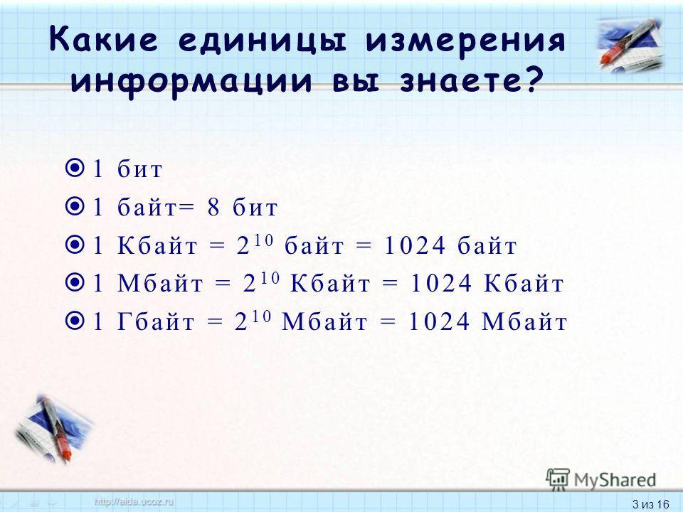 3 из 16 Какие единицы измерения информации вы знаете? 1 бит 1 байт= 8 бит 1 Кбайт = 2 10 байт = 1024 байт 1 Мбайт = 2 10 Кбайт = 1024 Кбайт 1 Гбайт = 2 10 Мбайт = 1024 Мбайт