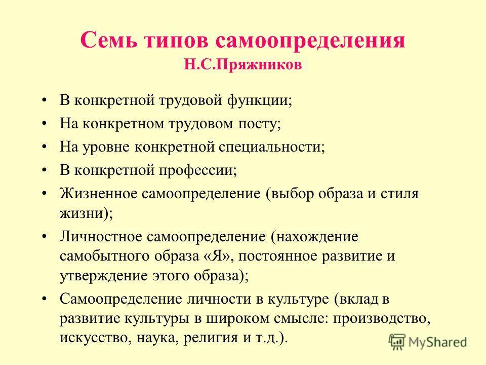 Семь типов самоопределения Н.С.Пряжников В конкретной трудовой функции; На конкретном трудовом посту; На уровне конкретной специальности; В конкретной профессии; Жизненное самоопределение (выбор образа и стиля жизни); Личностное самоопределение (нахо