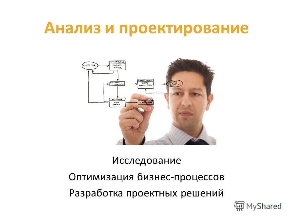 Анализ и проектирование Исследование Оптимизация бизнес-процессов Разработка проектных решений