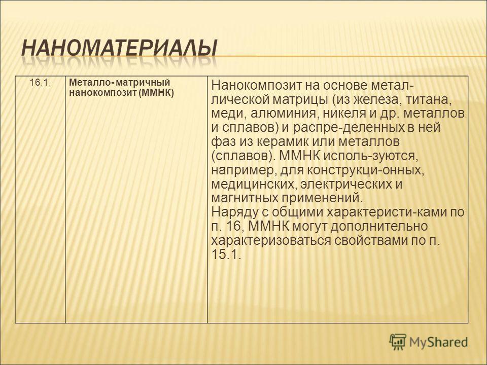 16.1.Металло- матричный нанокомпозит (ММНК) Нанокомпозит на основе метал- лической матрицы (из железа, титана, меди, алюминия, никеля и др. металлов и сплавов) и распре-деленных в ней фаз из керамик или металлов (сплавов). ММНК исполь-зуются, наприме