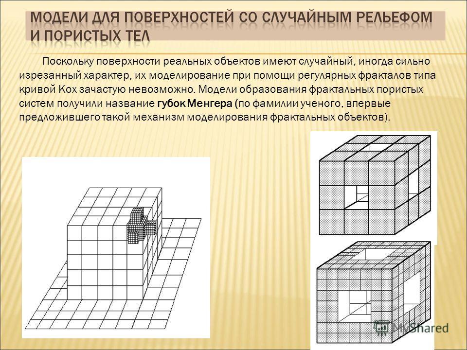 Поскольку поверхности реальных объектов имеют случайный, иногда сильно изрезанный характер, их моделирование при помощи регулярных фракталов типа кривой Кох зачастую невозможно. Модели образования фрактальных пористых систем получили название губок М