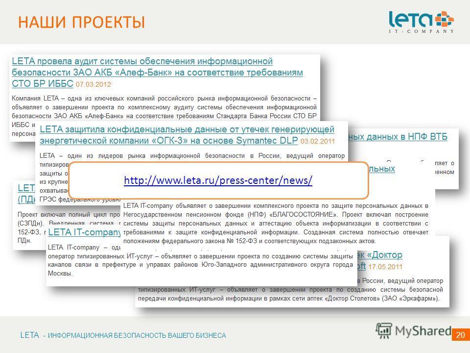 LETA - ИНФОРМАЦИОННАЯ БЕЗОПАСНОСТЬ ВАШЕГО БИЗНЕСА 20 НАШИ ПРОЕКТЫ http://www.leta.ru/press-center/news/