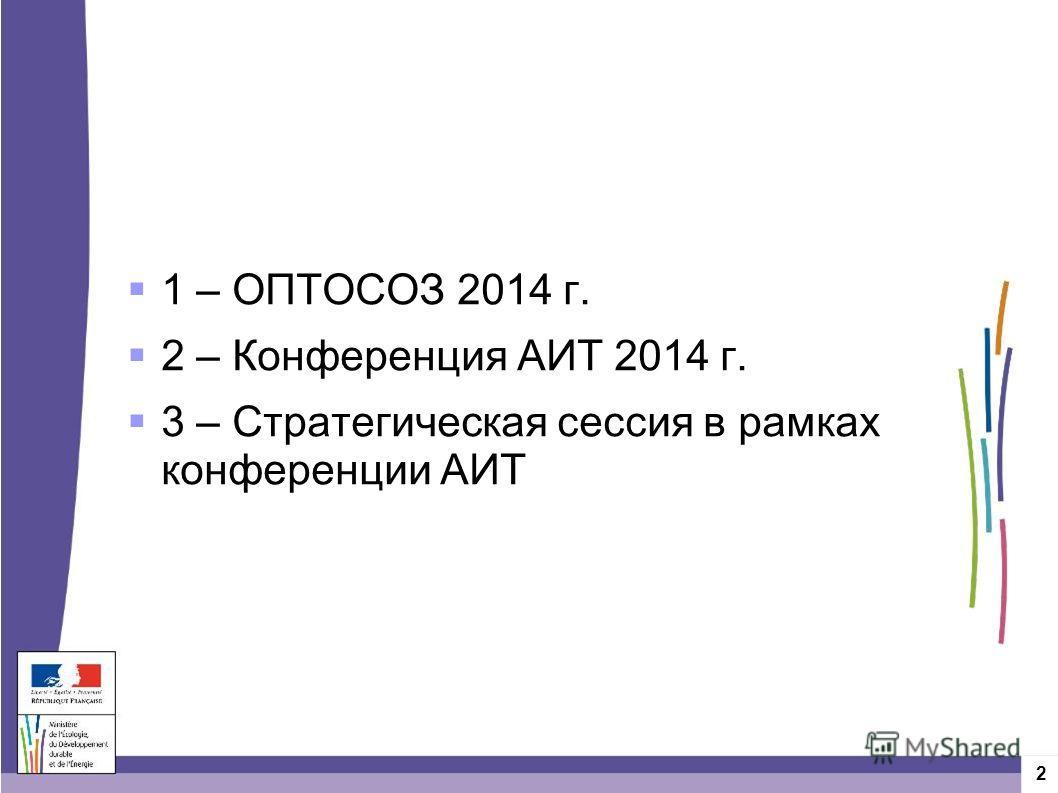 2 1 – ОПТОСОЗ 2014 г. 2 – Конференция АИТ 2014 г. 3 – Стратегическая сессия в рамках конференции АИТ