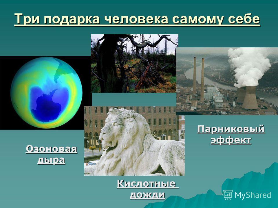 Три подарка человека самому себе Озоноваядыра Кислотныедожди Парниковыйэффект