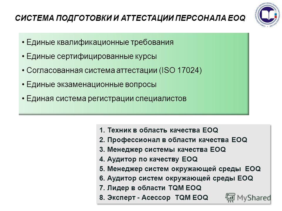 СИСТЕМА ПОДГОТОВКИ И АТТЕСТАЦИИ ПЕРСОНАЛА EOQ Единые квалификационные требования Единые сертифицированные курсы Согласованная система аттестации (ISO 17024) Единые экзаменационные вопросы Единая система регистрации специалистов 1. Техник в область ка