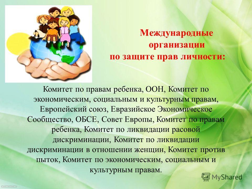 Международные организации по защите прав личности: Комитет по правам ребенка, ООН, Комитет по экономическим, социальным и культурным правам, Европейский союз, Евразийское Экономическое Сообщество, ОБСЕ, Совет Европы, Комитет по правам ребенка, Комите