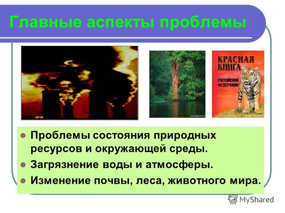 Главные аспекты проблемы Проблемы состояния природных ресурсов и окружающей среды. Загрязнение воды и атмосферы. Изменение почвы, леса, животного мира.