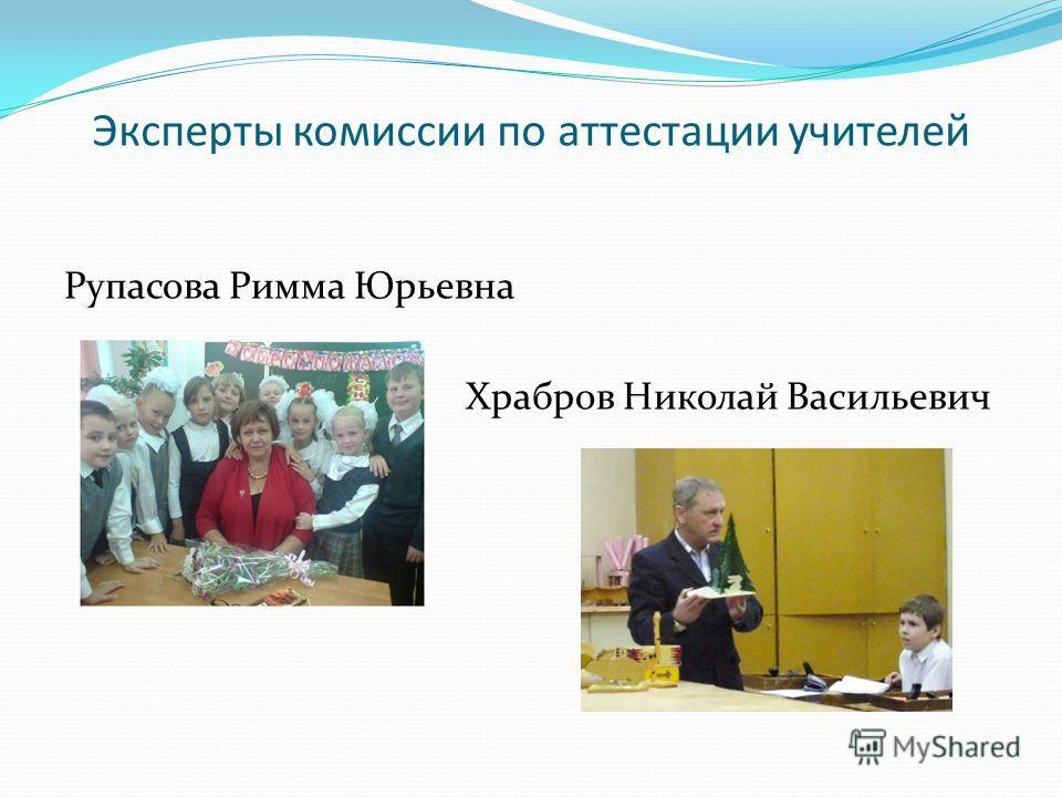 Эксперты комиссии по аттестации учителей Рупасова Римма Юрьевна Храбров Николай Васильевич
