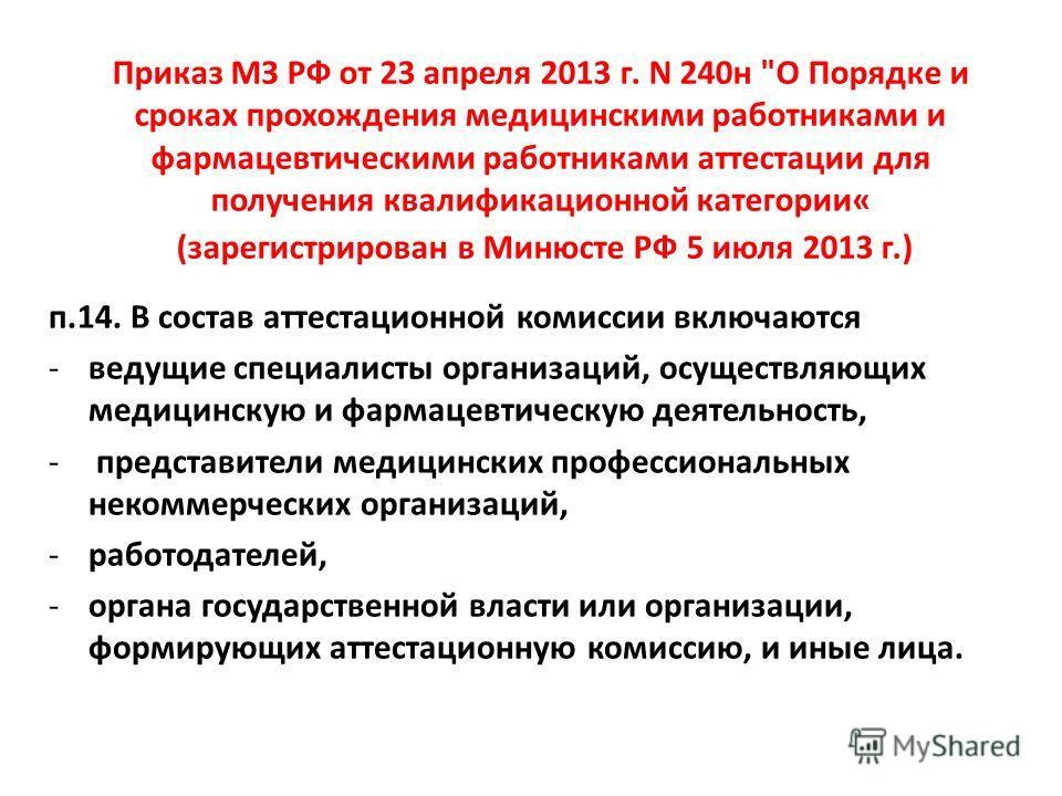 Приказ МЗ РФ от 23 апреля 2013 г. N 240н