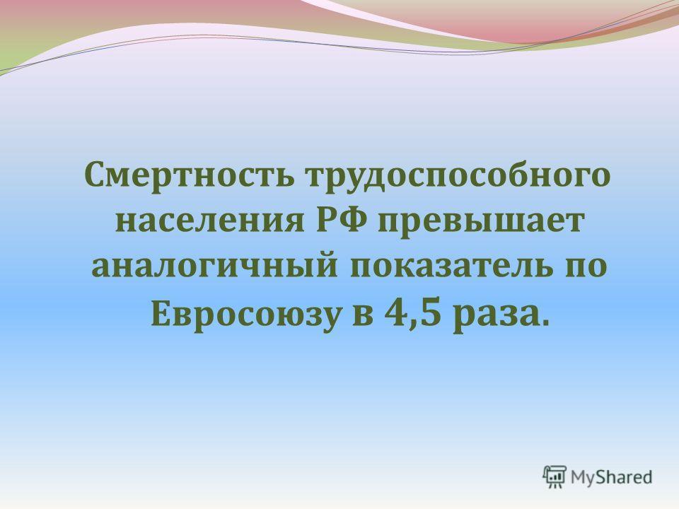 Смертность трудоспособного населения РФ превышает аналогичный показатель по Евросоюзу в 4,5 раза.