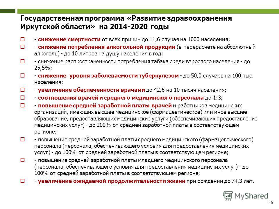 10 Государственная программа «Развитие здравоохранения Иркутской области» на 2014-2020 годы - снижение смертности от всех причин до 11,6 случая на 1000 населения; - снижение потребления алкогольной продукции (в перерасчете на абсолютный алкоголь) - д