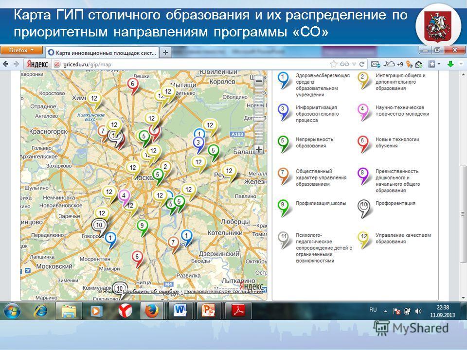 Карта ГИП столичного образования и их распределение по приоритетным направлениям программы «СО»
