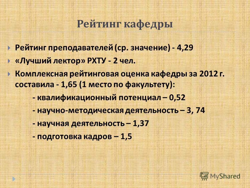 Презентация на тему ОТЧЕТ о работе кафедры психологии за годы  3 Рейтинг