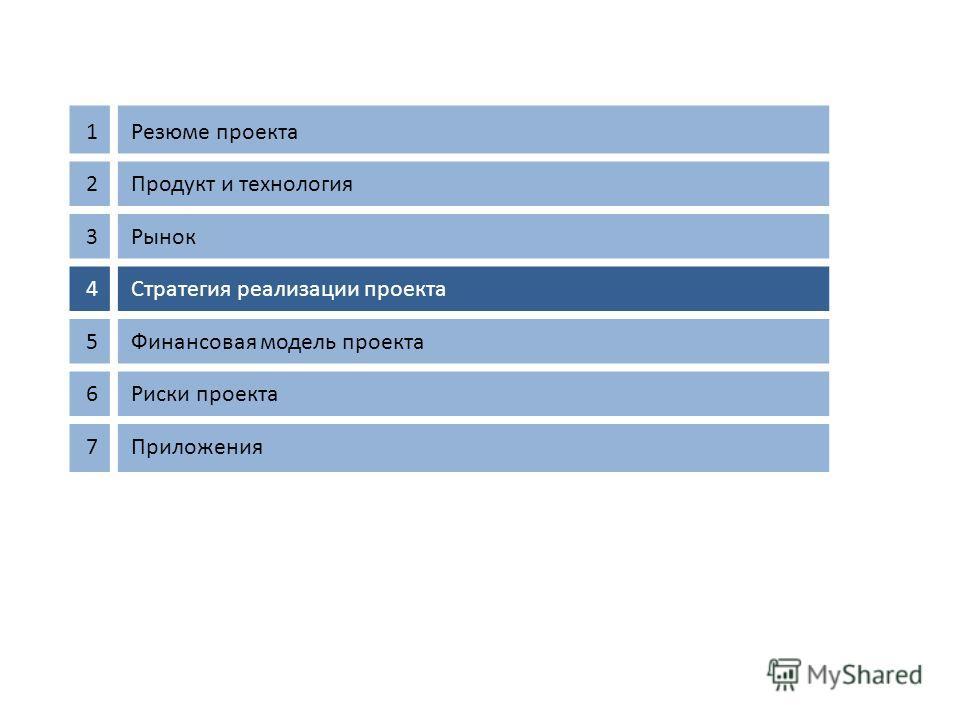 1Резюме проекта 2Продукт и технология 3Рынок 4Стратегия реализации проекта 5Финансовая модель проекта 6Риски проекта 7Приложения 15