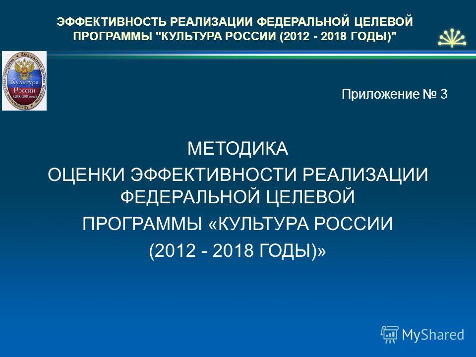 Приложение 3 МЕТОДИКА ОЦЕНКИ ЭФФЕКТИВНОСТИ РЕАЛИЗАЦИИ ФЕДЕРАЛЬНОЙ ЦЕЛЕВОЙ ПРОГРАММЫ «КУЛЬТУРА РОССИИ (2012 - 2018 ГОДЫ)» ЭФФЕКТИВНОСТЬ РЕАЛИЗАЦИИ ФЕДЕРАЛЬНОЙ ЦЕЛЕВОЙ ПРОГРАММЫ КУЛЬТУРА РОССИИ (2012 - 2018 ГОДЫ)