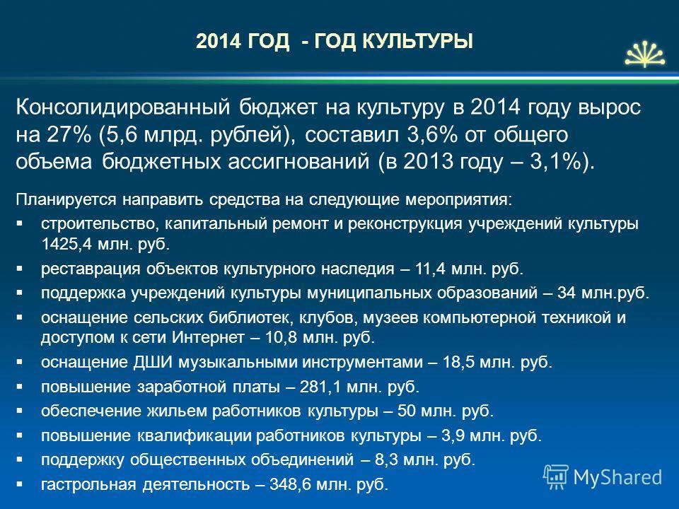Консолидированный бюджет на культуру в 2014 году вырос на 27% (5,6 млрд. рублей), составил 3,6% от общего объема бюджетных ассигнований (в 2013 году – 3,1%). Планируется направить средства на следующие мероприятия: строительство, капитальный ремонт и