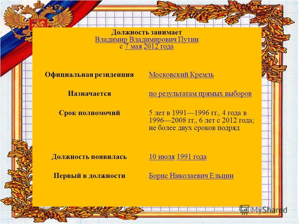 Президе́нт Росси́йской Федера́ции высшая государственная должность Российской Федерации, а также лицо, избранное на эту должность. Президент России является главой государства. Многие полномочия президента либо имеют непосредственно исполнительный ха