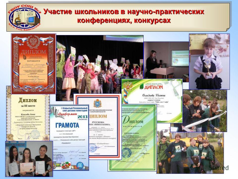 Участие школьников в научно-практических конференциях, конкурсах Участие школьников в научно-практических конференциях, конкурсах
