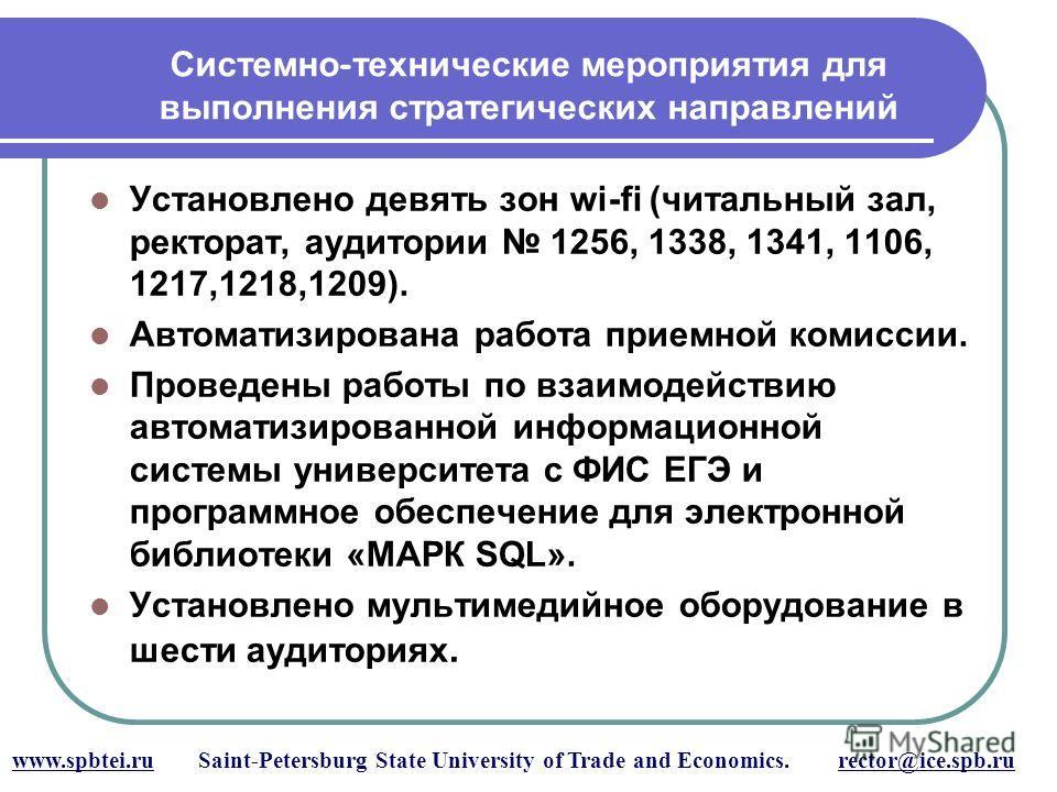 Системно - технические мероприятия для выполнения стратегических направлений www.spbtei.ru Saint-Petersburg State University of Trade and Economics. rector@ice.spb.ru Установлено девять зон wi-fi (читальный зал, ректорат, аудитории 1256, 1338, 1341,
