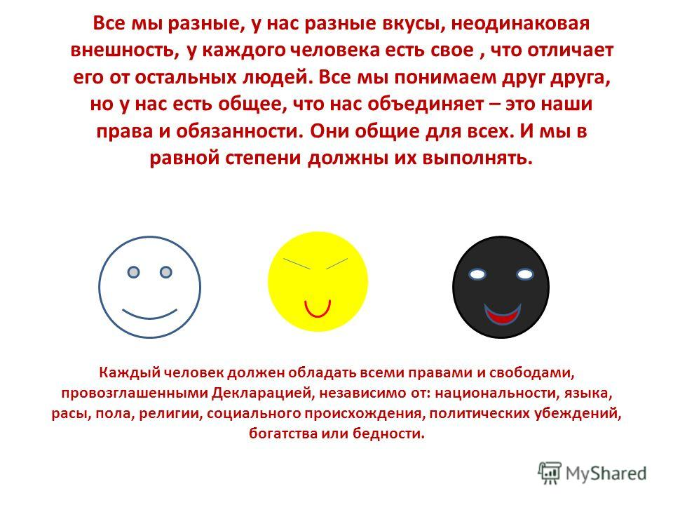 Все мы разные, у нас разные вкусы, неодинаковая внешность, у каждого человека есть свое, что отличает его от остальных людей. Все мы понимаем друг друга, но у нас есть общее, что нас объединяет – это наши права и обязанности. Они общие для всех. И мы