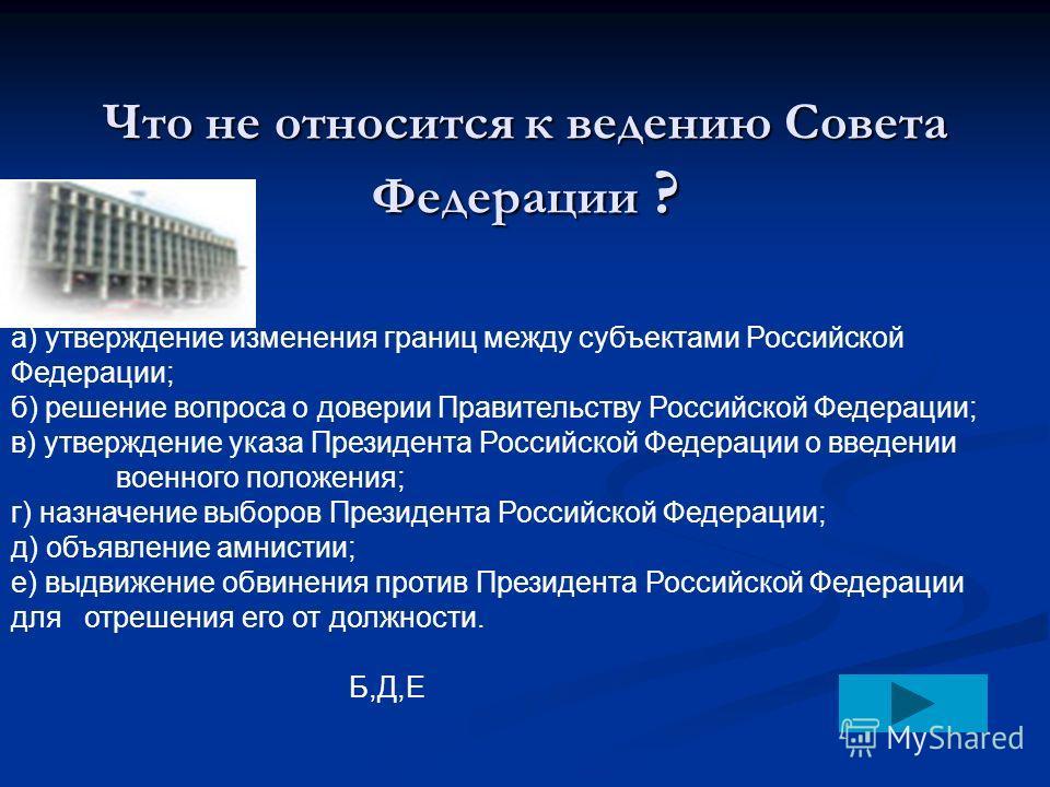 VI раунд: Тест «Органы государственной власти» 1 2 3 4 5 6