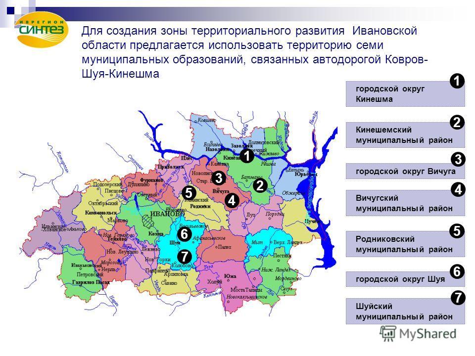 Для создания зоны территориального развития Ивановской области предлагается использовать территорию семи муниципальных образований, связанных автодорогой Ковров- Шуя-Кинешма 1 2 3 4 5 6 7 городской округ Кинешма 1 Кинешемский муниципальный район горо